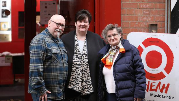 Paul Kane, music and older peoples manager at the Oh yeah Music Centre; Margaret McCrudden, manager of Newington Day centre; and carer Marie Shearan