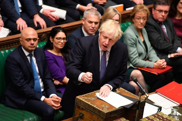 Prime Minister Boris Johnson speaking at the opening of the second reading of the EU withdrawal bill in the Commons yesterday