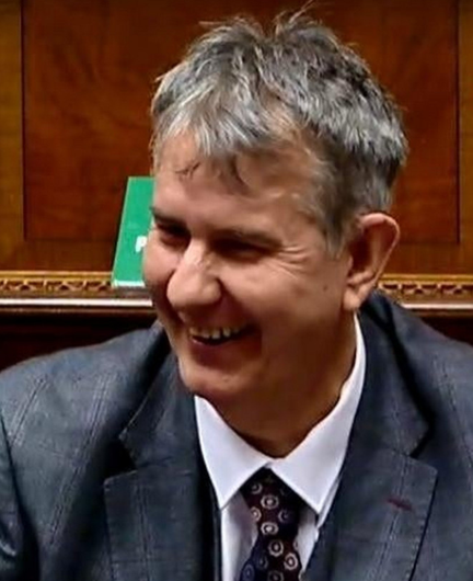 All smiles: Edwin Poots returns to Stormont last week, three weeks after surgery