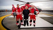 Clinical lead Darren Monaghan, pilot Rich Steele and operational lead Glenn O'Rorke on the helipad at the Royal Victoria Hospital. Photo: Liam McBurney/PA Wire