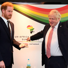 The Duke of Sussex with Prime Minister Boris Johnson at the UK-Africa Investment Summit in London yesterday