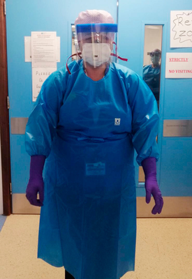 Kerry Gordon at work in her personal protective equipment at Craigavon Area Hospital