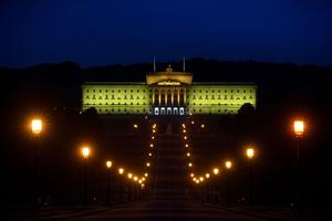 Parliament Buildings Stormont, Belfast was lit yellow as a strong and visible symbol of the Assembly and local community's opposition to racism and to show its support for and solidarity with the #BlackLivesMatter movement. PA Photo. Picture date: Saturday June 6, 2020. Photo credit should read: Michael Cooper/PA Wire