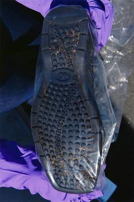 The sole of one of her shoes