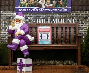 Santa ornament sits on a bench at Hillmount Garden Centre in Belfast. PA Photo. Picture date: Monday November 23, 2020. See PA story ULSTER Coronavirus. Photo credit should read: Liam McBurney/PA Wire