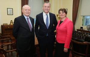 Asda chief executive Andy Clarke with First Minister Arlene Foster and Deputy First Minister Martin McGuinness at Parliament Buildings earlier this month