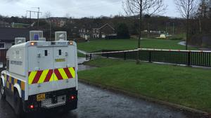 The area in Glasvey Close, Twinbrook, west Belfast, where Christopher Meli was killed