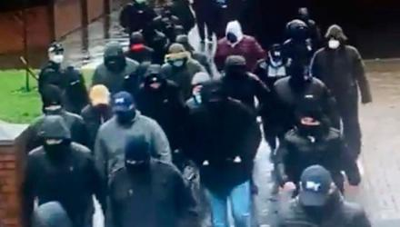 The show of strength by masked men in Pitt Park, east Belfast, back in February