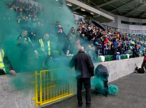 Lurgan Celtic fans at Windsor Park on Saturday after a flare was let off during the Irish Cup semi-final