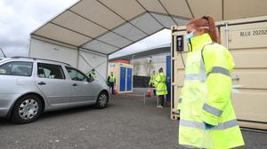 Testing for staff has started at the SSE car park in Belfast (Press Eye/PA)