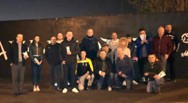 A photo of a Sinn Fein team canvassing for Thursday's local election with Shankill bomber Sean Kelly (back row, pale jumper, no glasses)