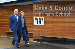 The TUV's Jim Allister and his wife Ruth after voting at Kells & Connor Primary School