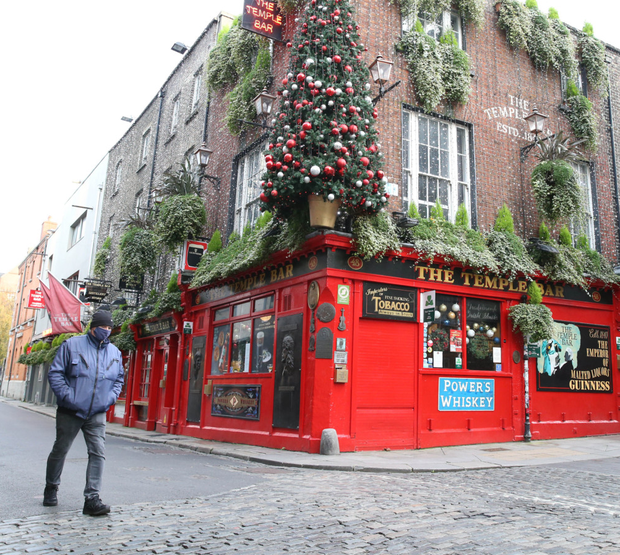 Deserted: The Temple Bar pub in Dublin during lockdown on Wednesday