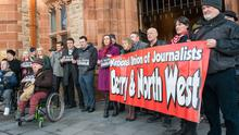 Journalists in Derry at the vigil