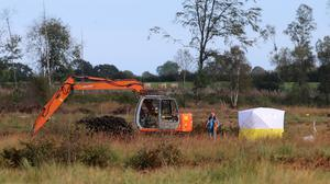 The scene where a body was found in the search for Brendan Megraw