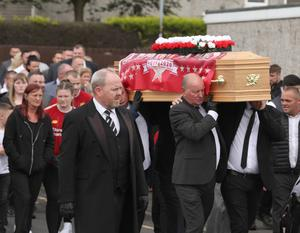 Family and friends at the funeral of Jason Lee Martin in Ballymena