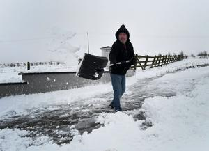 Clearing the snow at Divis Mountain