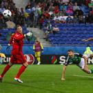 Gareth McAuley heads home against Ukraine