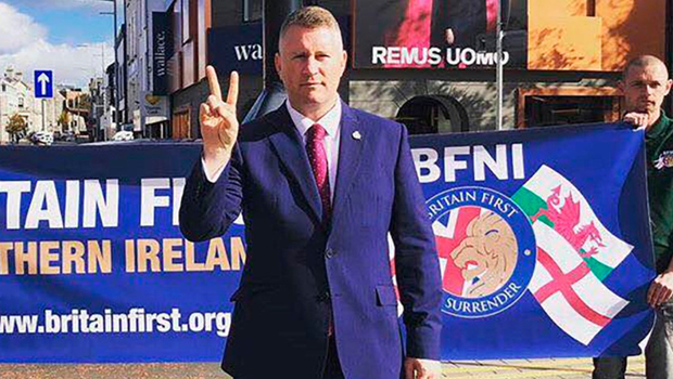 Britain First leader Paul Golding on an earlier visit to Ballymena