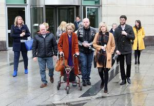 The family of Denis Doran following the inquest at Laganside Courts
