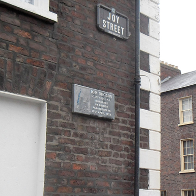 A plaque in the Markets area of Belfast where he was shot dead in 1972