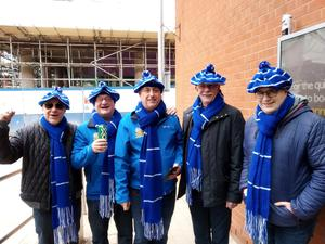 Michael Scott (right) with mates from the Victoria Glenavon Supporters' Club during a trip to Coventry