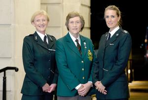 Assistant Chief Constable Barbara Gray pictured with Mae McMulan retired RUC Officer and Chief Superintendent Emma Bond at the 75 years of Women in Policing celebration at Stormont Buildings