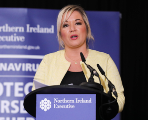 Michelle O'Neill at the Stormont briefing yesterday