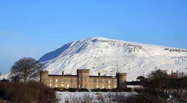 Dungiven Castle at the foot of Benbradagh mountain in Co Derry