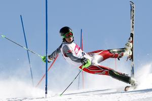 A competitor crashes during a slalom contest in Szczyrk, Poland