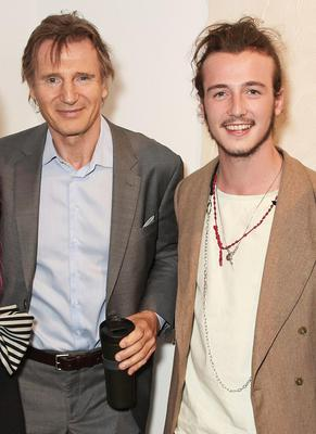 Liam Neeson with his son Micheal at the opening of his fashion gallery in London's Soho
