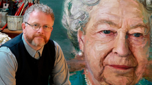 Colin Davidson with his portrait of the Queen which was unveiled in 2016