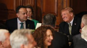 Leo Varadkar and President Donald Trump during the Speaker's Lunch (Brian Lawless/PA)