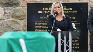Deputy First Minister Michelle O'Neill speaks during the funeral of senior Irish Republican and former leading IRA figure Bobby Storey at Milltown Cemetery in west Belfast (Liam McBurney/PA)