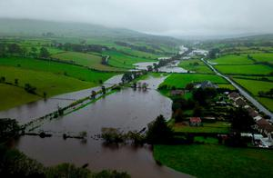 Torrential: large areas of Co Antrim were flooded on Sunday