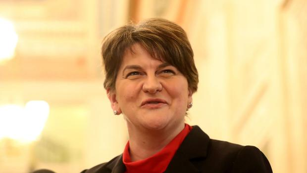 DUP leader Arlene Foster speaks to members of the media in the Great Hall in Parliament Building in Stormont, Belfast