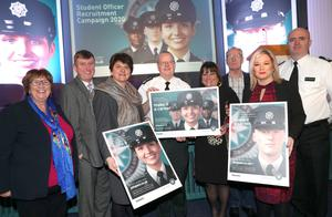 Dolores Kelly; Mervyn Storey; First Minister Arlene Foster; PSNI Chief Constable Simon Byrne; Policing Board chair Anne Connolly; Gerry Kelly; Deputy First Minister Michelle O'Neill, and Deputy Chief Constable-elect Mark Hamilton at the PSNI recruitment drive