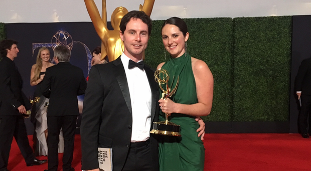 Emma O'Loughlin with her fiance Ross McMahon at the Emmys last year