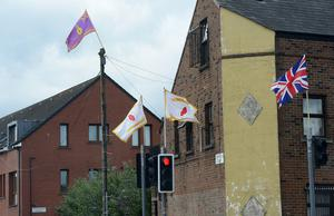 A number of loyalist flags on display in Belfast