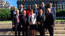 DUP's 10 MPs outside the Houses of Parliament