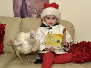 Athena Bryson from Poyntzpass with her early Christmas present, a turkey called Valerie Lucky