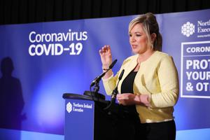 Michelle O'Neill at a coronavirus briefing in Stormont