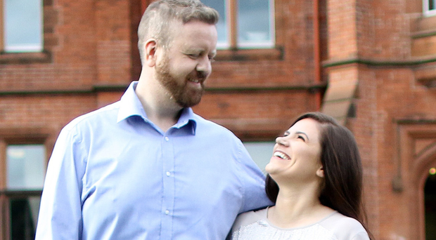 Paul Malone and Emma Taylor, who will wed at Riddel Hall at Queen's University on Saturday