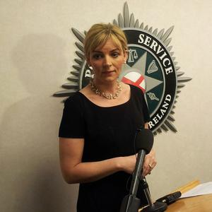 DCI Una Jennings speaking at PSNI headquarters concerning the double murder of a man and a woman, named as Finbar McGrillen and Caron Smyth, in a house in Belfast