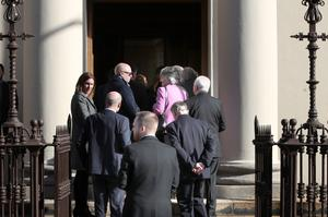 Mourners at the funeral of Joan McAllister