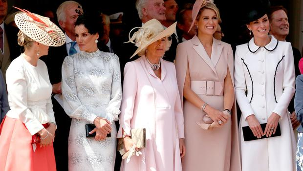 Sophie, Countess of Wessex, Queen Letizia of Spain, the Duchess of Cornwall, Queen Maxima of the Netherlands and the Duchess of Cambridge
