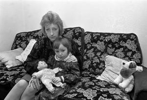 Jean Caldwell, the widow of one of the eight men killed at Teebane crossroads, with daughter Grace in 1992