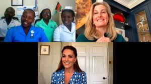 Catherine, Duchess of Cambridge and Sophie, Countess of Wessex speak to nurses in Commonwealth countries