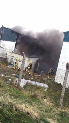 Firefighters at the scene of the blaze in Portavogie yesterday