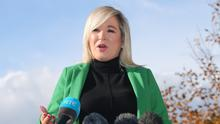 In spotlight: Sinn Fein's Deputy First Minister Michelle O'Neill speaks to the Press in Coalisland, Co Tyrone, yesterday